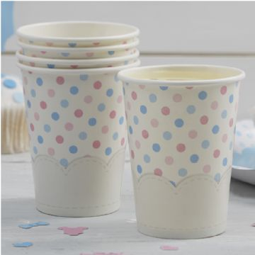 Pink & Blue Spotty Paper Cups - Pack of 8
